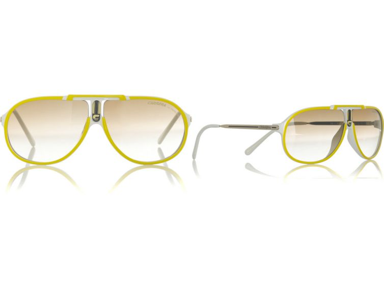 Yellow and white acetate rounded aviator sunglasses. Carrera sunglasses have ...